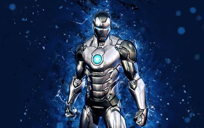 Silver Foil Iron Man, 4k, purple neon lights, 2021 games, Fortnite Battle Royale, Fortnite characters, Silver Foil Iron Man Skin, Fortnite, Silver Foil Iron Man Fortnite