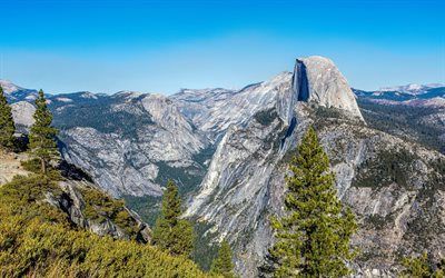 rocky mountains, spring, mountain landscape, Yosemite National Park, California, USA, mountains