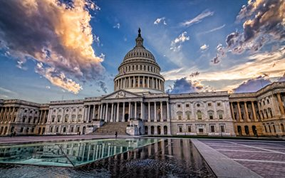 United States Capitol, soir, coucher de soleil, fontaine, Capitol Building, United States Congress, Washington, USA