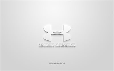 Under Armor logo, white background, Under Armor 3d logo, 3d art, Under Armor, brands logo, white 3d Under Armor logo