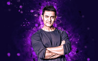 Aamir Khan, 4k, violet neon lights, indian actor, Bollywood, movie stars, indian celebrity, Mohammed Aamir Hussain Khan, Aamir Khan 4K