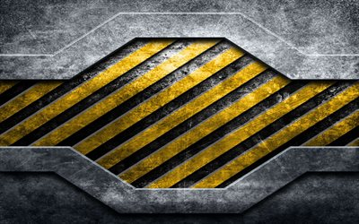 warning lines, 4k, grunge metal backgrounds, warning concepts, yellow and black lines, metal backgrounds, warning stripes