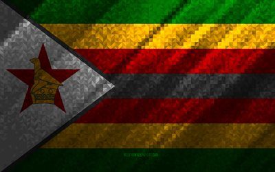 Flag of Zimbabwe, multicolored abstraction, Zimbabwe mosaic flag, Zimbabwe, mosaic art, Zimbabwe flag
