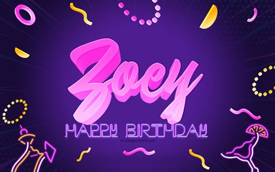 Happy Birthday Zoey, 4k, Purple Party Background, Zoey, creative art, Happy Zoey birthday, Zoey name, Zoey Birthday, Birthday Party Background