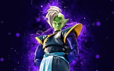 Zamasu, 4k, violet néon, Dragon Ball, guerrier, Dragon Ball Super, DBS, Zamasu Dragon Ball, DBS personnages, Zamasu 4K