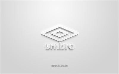 Umbro logo, white background, Umbro 3d logo, 3d art, Umbro, brands logo, white 3d Umbro logo