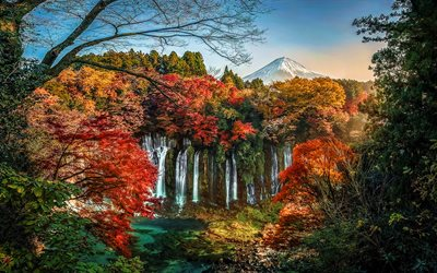 Japan, autumn, waterfalls, Mount Fuji, forest, stratovolcano, Fujisan, Fujiyama, mountains, Asia, japanese landmarks