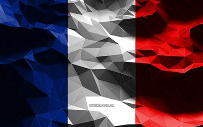 4k, French flag, low poly art, European countries, national symbols, Flag of France, 3D flags, France flag, France, Europe, France 3D flag