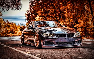 4k, BMW M4, autumn, tuning, 2020 cars, HDR, F82, supercars, 2020 BMW M4, german cars, BMW, Black BMW M4