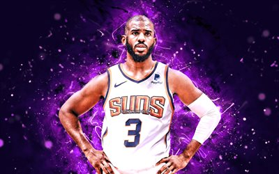 Chris Paul, 4k, 2021, white uniform, Phoenix Suns, NBA, basketball, Christopher Emmanuel Paul, USA, Chris Paul Phoenix Suns, violet neon lights, Chris Paul 4K