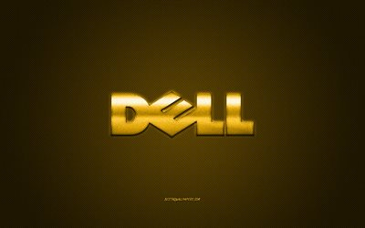 Dell logo, yellow carbon background, Dell metal logo, Dell yellow emblem, Dell, yellow carbon texture