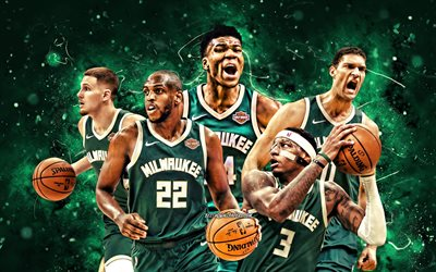 Khris Middleton, Torrey Craig, Giannis Antetokounmpo, Brook Lopez, Donte DiVincenzo, 4k, Milwaukee Bucks, basketball, NBA, Milwaukee Bucks team, green neon lights, basketball stars