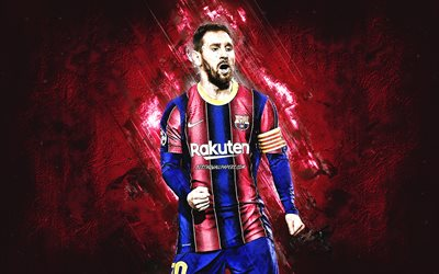 Lionel Messi, FC Barcelona, Argentine footballer, burgundy stone background, La Liga, world football star, soccer, Leo Messi