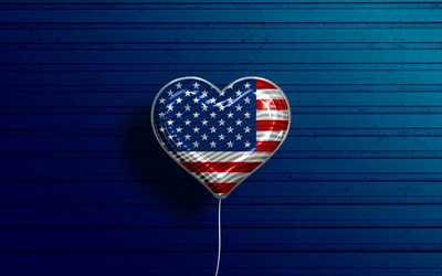 I Love USA, 4k, realistic balloons, blue wooden background, North American countries, American flag, favorite countries, flag of USA, balloon with flag, USA flag, Love USA, US flag