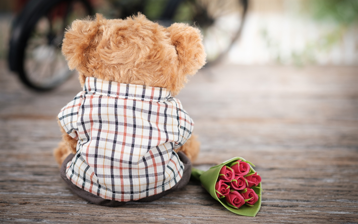 Download wallpapers cute teddy bear love concepts bouquet of paper cute teddy bear love concepts bouquet of paper roses romance concepts we offer you to download wallpapers voltagebd Image collections