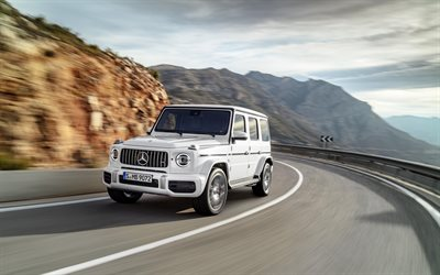 Mercedes-Benz G63 AMG, 2019, High-Performance G-Class, 4k, luxury white SUV, exterior, new cars, white G63, tuning, Mercedes