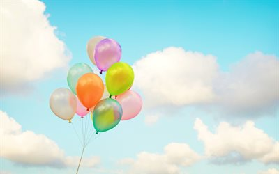 colorful balloons, blue sky, white clouds, bunch of balloons, holiday