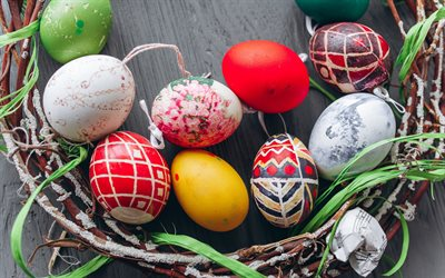 Easter eggs, painted eggs, spring, cinnamon, wooden background, nest