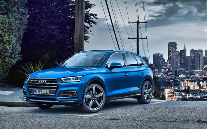 Download Wallpapers Audi Q5 4k Street 2019 Cars Crossovers Blue Audi Q5 German Cars 2019 Audi Q5 Audi For Desktop Free Pictures For Desktop Free