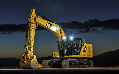 Caterpillar 323, 4k, excavator at night, construction equipment, trucks, excavator, CAT 323, excavator work, Caterpillar