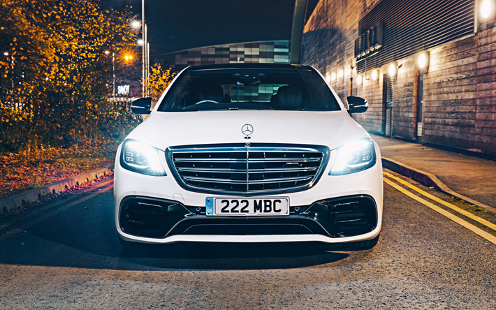 Download Wallpapers Mercedes Amg S63 4k Headlights 2019 Cars W222 Luxury Cars Front View White W222 Mercedes Benz S Class German Cars Mercedes For Desktop Free Pictures For Desktop Free