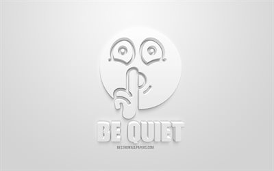 Be quiet, white 3D icon, white background, creative 3d art, be quiet concepts, silence concepts, 3d characters