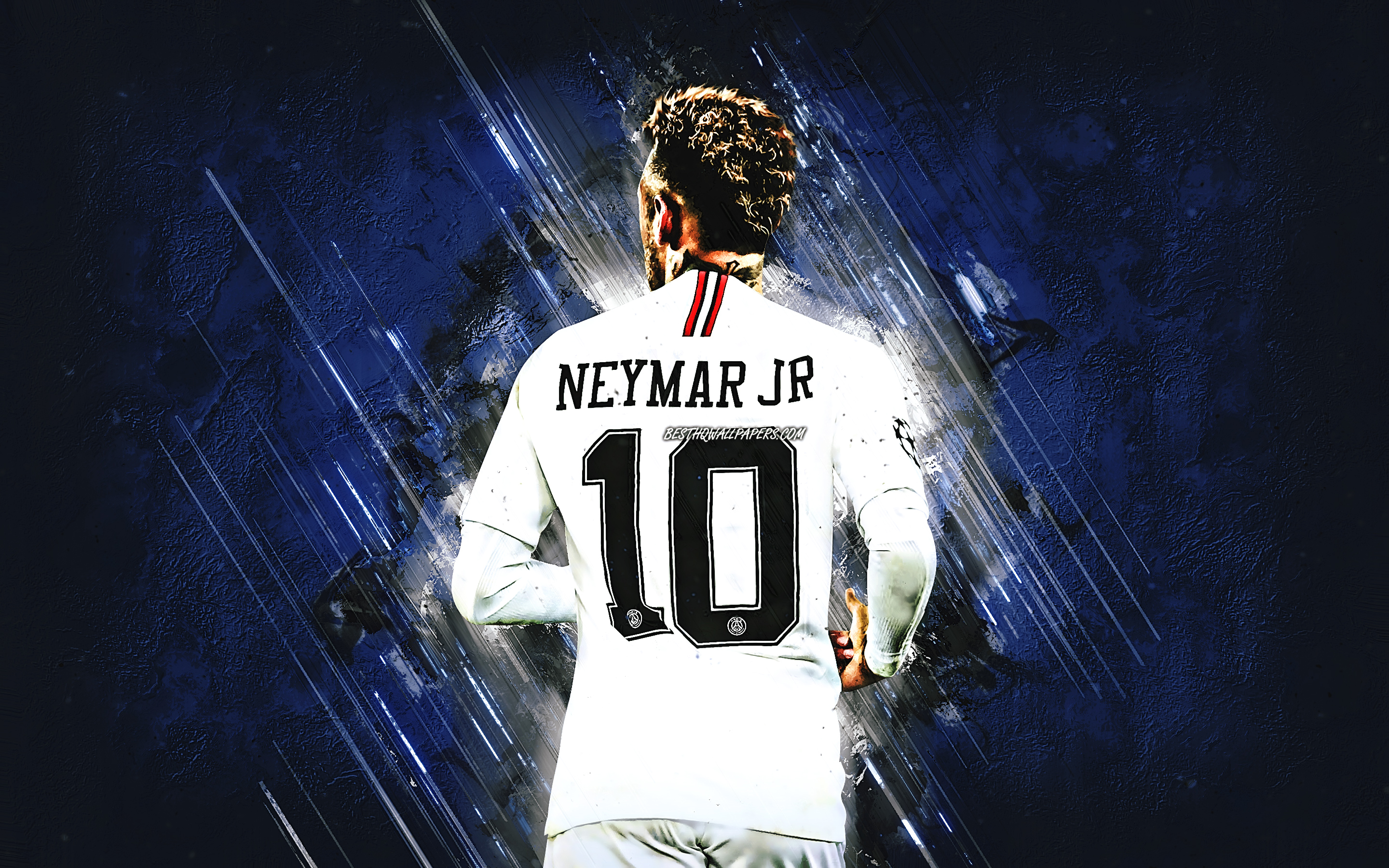 Neymar JR, blue stone, back view, PSG, brazilian footballers, Ligue 1, Paris Saint-Germain, football stars, grunge, Neymar, soccer, Neymar PSG, France