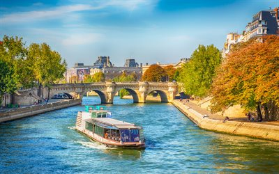 Seine River, autumn, HDR, rivers of France, Paris, Europe, France