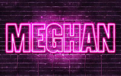 Meghan, 4k, wallpapers with names, female names, Meghan name, purple neon lights, horizontal text, picture with Meghan name