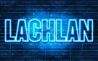 Lachlan, 4k, wallpapers with names, horizontal text, Lachlan name, blue neon lights, picture with Lachlan name