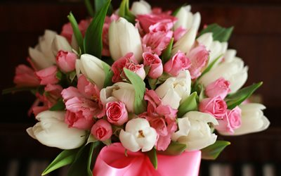 bouquet of white and pink tulips, spring bouquet, spring flowers, tulips, pink tulips, white tulips