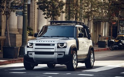 2020, Land Rover Defender, 4K, front view, exterior, white SUV, new white Defender, British cars, Land Rover