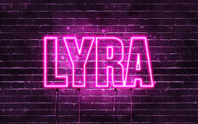 Lyra, 4k, wallpapers with names, female names, Lyra name, purple neon lights, horizontal text, picture with Lyra name