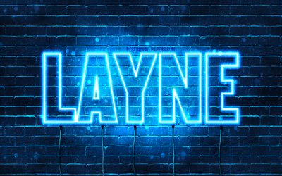 Layne, 4k, wallpapers with names, horizontal text, Layne name, blue neon lights, picture with Layne name