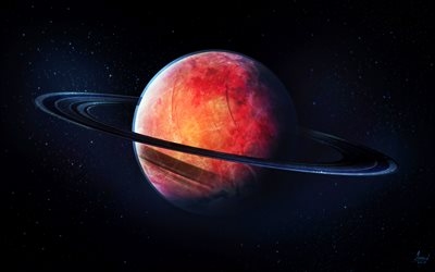 Saturn, 3D art, red planet, digital art, galaxy, stars, sci-fi, universe, NASA, planets, Saturn from space