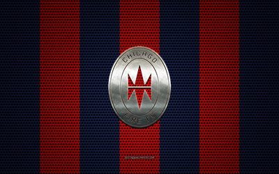 Chicago Fire FC logo, American soccer club, metal emblem, Chicago Fire new logo, red blue metal mesh background, Chicago Fire FC, NHL, Chicago, Illinois, USA, soccer