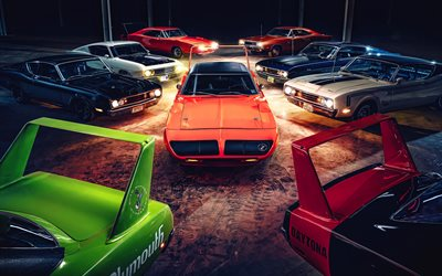 4k, Dodge Charger Daytona, Plymouth Superbird, retro cars, 1969 cars, muscle cars, american cars, Dodge, Plymouth
