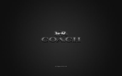 Coach logo, metal emblem, apparel brand, black carbon texture, global apparel brands, Coach, fashion concept, Coach emblem