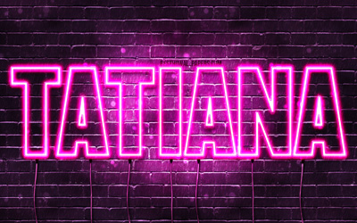 Tatiana, 4k, wallpapers with names, female names, Tatiana name, purple neon lights, horizontal text, picture with Tatiana name