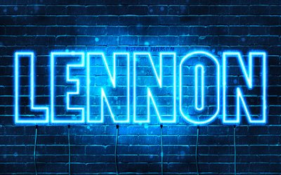 Lennon, 4k, wallpapers with names, horizontal text, Lennon name, blue neon lights, picture with Lennon name