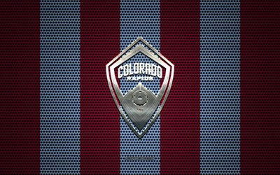 Colorado Rapids logo, American soccer club, metal emblem, purple blue metal mesh background, Colorado Rapids, NHL, Denver, Colorado, USA, soccer