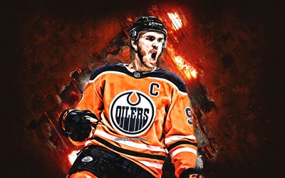 Connor McDavid, Edmonton Oilers, NHL, Canadian hockey player, portrait, stone background, hockey, USA