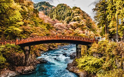 Nikko Daiya River, Shinkyo Bridge, autumn, beautiful nature, Japan, Asia, japanese nature, HDR