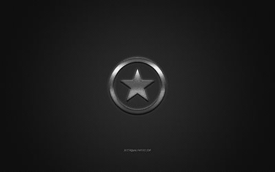 Converse logo, metal emblem, apparel brand, black carbon texture, global apparel brands, Converse, fashion concept, Converse emblem