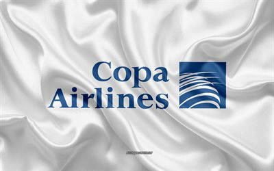 Copa Airlines logo, airline, white silk texture, airline logos, Copa Airlines emblem, silk background, silk flag, Copa Airlines