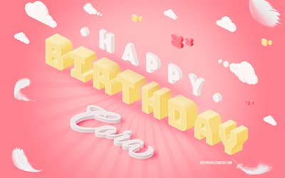 Happy Birthday Cora, 3d Art, Birthday 3d Background, Cora, Pink Background, Happy Cora birthday, 3d Letters, Cora Birthday, Creative Birthday Background