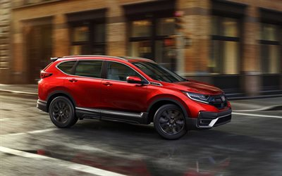 2021, Honda CR-V, front view, exterior, red SUV, new red CR-V, japanese cars, Honda