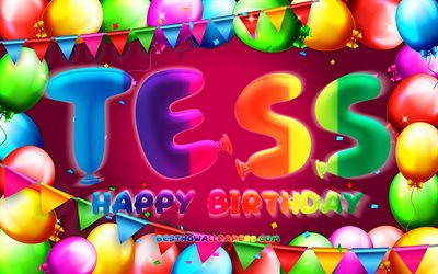 Happy Birthday Tess, 4k, colorful balloon frame, Tess name, purple background, Tess Happy Birthday, Tess Birthday, popular dutch female names, Birthday concept, Tess