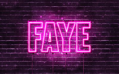 Faye, 4k, wallpapers with names, female names, Faye name, purple neon lights, horizontal text, picture with Faye name