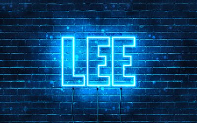 Lee, 4k, wallpapers with names, horizontal text, Lee name, blue neon lights, picture with Lee name
